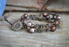 Wrap Bracelet, Beaded Wrap Bracelet, Knotted Leather Bead Bracelet, Double Wrap Leather Beaded Bracelet Knotted Leather Bronze Accents