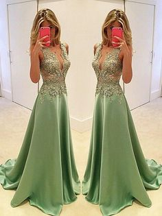Sexy Appliques Prom Dresses,Long Evening Dresses,