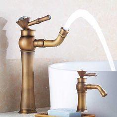 72.22$  Buy now - http://aliuz0.worldwells.pw/go.php?t=32557725681 - Antique Brass Bathroom Sink Faucet One Hole/Handle Lavatory Vessel Mixer Tap mitigeur salle de bain 72.22$