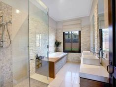 Classic bathroom design with twin basins using tiles - Bathroom Photo 421824