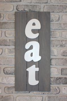 Wooden Eat sign 3D