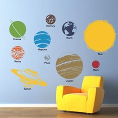 Complete Solar System with Planet Names Vinyl Wall Art Decal - Children Wall Decals. $68.00, via Etsy.