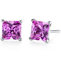 Peora.com - 14 kt White Gold Princess Cut 3.00 ct Pink Sapphire Earrings E18514, $99.99 (http://www.peora.com/14-kt-white-gold-princess-cut-3-00-ct-pink-sapphire-earrings-e18514/)