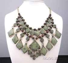 Large BIB Afghan Tribal Ethnic Genuine Green JADE Stone Necklace w/Beaded Accent