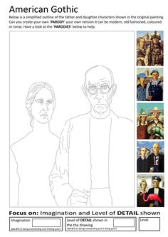 Here are the Popular Grant Wood American Gothic Coloring Page. This post about Popular Grant Wood American Gothic Coloring Page was posted . Art Sub Plans, Art Lesson Plans, Art Substitute Plans, High School Art, Middle School Art, Programme D'art, Documents D'art, Art Sub Lessons, Classe D'art