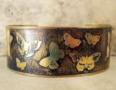 Etched Brass Cuff Butterflies by AmongTheRuins on Etsy Copper Cuff, Copper Bracelet, Copper Gifts, Rolling Mill, Butterfly Bracelet, Copper Art, Brass Jewelry, Man Fashion, Metal Crafts