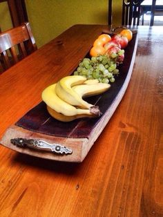 Timber serving platter / fruit bowl with carry by UpcycledWoodOZ