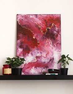 """50x70cm (19x27"""") Canvas, Abstract original acrylic painting- fluid art- white, red, gold- wall art- home, office- contemporary art- modern"""