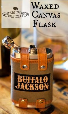 Mens flask sleeve made of durable waxed canvas with whiskey leather trim. Includes 6 oz. stainless steel hip flask - screw top with flip. Perfect for tailgating or evenings by the fire.