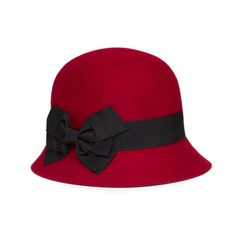 100% Wool Cloche Hat with Grosgrain Bow - Wine on StyleMined