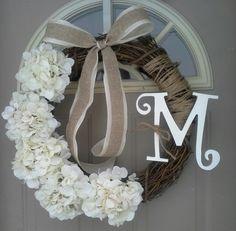 Sweet Spring...  hydrangea wreath, Front Door Wreaths, Spring Wreaths, wreaths, Door Wreaths, wreaths, Brand New Day Designs, monogram