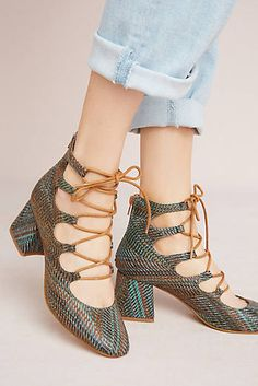 927b10af0f3 Vanessa Wu Ghillie Lace-Up Heels Wedge Shoes