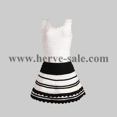 Herve Leger White and Black U-neck Lotus Edges Sexy Bandage Dress Herve Leger Dress, Lotus, Sexy, Black, Dresses, Fashion, Dress, Gowns, Neckline