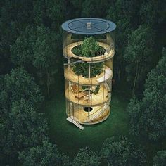 """culturenlifestyle: """" Stunning Innovative Cylindrical Glass House Built Around A Tree Kazakh architect Aibek Almassov re-imagines the concept of living in a """"treehouse"""" by ingeniously designing a. Architecture Durable, Green Architecture, Sustainable Architecture, Amazing Architecture, Architecture Design, House Built, Build Your Dream Home, Glass House, Exterior Design"""