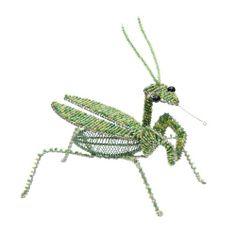 Amazon.com - Grass Roots Creations Praying Mantis Beadworx Sculpture, Green - Wall Sculptures