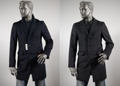 Coat with windproof bib in mixed cashmere blue and grey