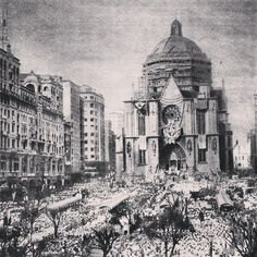 Catholics in Sao Paulo at Se Square, 1954