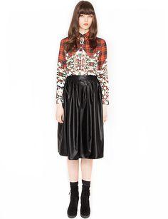 Leather circle midi skirt  $53.00
