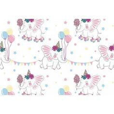 Látka magický úplet sloníky Textiles, Fabrics, Textile Art