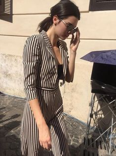 Celebrity Style: How to Wear Stripes: #3. Kendall Jenner: Striped Overalls