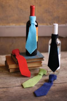 felt neck ties for wine! We can create this for your event contact us on (+44) 0208 206 0829  www.la-occssion.com