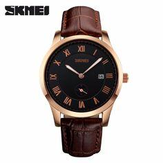 Sale 17% (12.29$) - SKMEI 1132 Luxury Men PU Leather Band Sub Dial Fashion Casual Quartz Watch