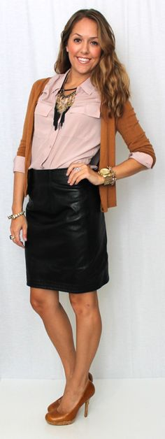 Soft pink and rusty orange look exceptional good together.  I don't think I could ever pull of a leather skirt however.  I think a pair of herringbone pants would fit me better.