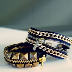 DIY Tips: Make yourself stylish bracelets zipper! Not in English will have to use Google Translate