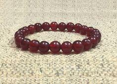 8mm Red Carnelian Gemstones Strech Tibetan Bracelet, Healing Chakra Protection Meditation Yoga Mala Zodiac Taurus Cancer Leo Virgo Bracelet by ArtGemStones on Etsy