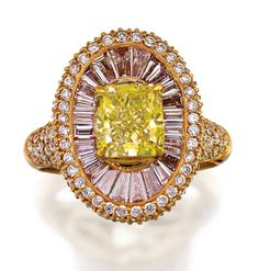 Of cluster design centring a natural fancy yellow princess-cut diamond weighing approximately 2.01 carats claw-set above a radiating field of natural fancy light pink tapered baguette diamonds, the surround, gallery and shoulder accented with brilliant-cut diamonds, the small diamonds together weighing approximately 2.76 carats, mounted in 18ct pink gold, size N1/2.