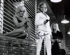 JAMES BOND GIRLS AUTOGRAPHED PHOTO GREAT SHOT FROM THE 1964 JAMES BOND FILM GOLDFINGER JOINTLY SIGNED BY SHIRLEY EATON,HONOR BLACKMAN & TANIA MALLET