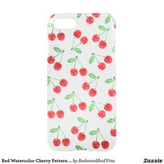 Red Watercolor Cherry Pattern Clear