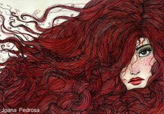 Red for axelle Joana Pedrosa is a traditional artist from Portugal. She created whimsical illustrations using mixed mediums – black multiliner, watercolors, rhinestone and satin ribbons. The red string Flow with the wind Thank you Dare… Continue Reading → Redhead Art, Pix Art, Call Art, Art Lessons Elementary, Elements Of Art, Art Techniques, Art Girl, Redheads, Painting & Drawing