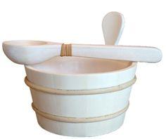 Wooden Water Bucket & Ladle Set with Liner