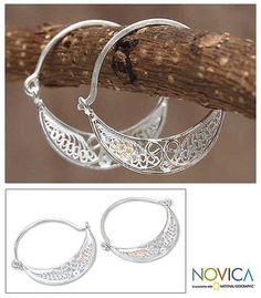 Sterling silver filigree earrings - Fiesta - NOVICA