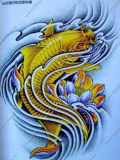 Hình xăm tattoo cá chép 3d ở eo đẹp