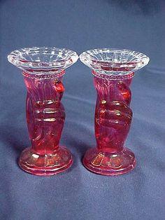 C1890 Victorian Hand Vase Candleholders Rose Stain   eBay