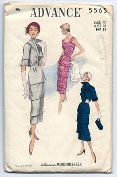 Vintage 1950s Advance 5565 Featured in Mademoiselle by RomasMaison, $65.00