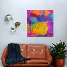 Psychedelic Colorful Paint Brush Strokes Metal Print Copper Wall Art, Metal Wall Art, Psychedelic Decor, Red Home Decor, Colorful Artwork, Abstract Canvas Art, Print Design, Graphic Design, Skin Colors