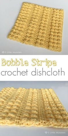 The bobble stripe crochet dishcloth alternates rows of bobble stitch and rows of half double crochet to created a nice texture and contrast. Knitting For BeginnersKnitting FashionCrochet ProjectsCrochet Amigurumi Crochet Bobble, Crochet Scrubbies, Mode Crochet, Crochet Gratis, Bobble Stitch, Crochet Squares, Crochet Home, Dishcloth Crochet, Crochet Kitchen