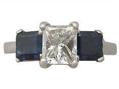 1.11 ct Diamond and 0.83 ct Sapphire, Platinum Trilogy Ring - Vintage Circa 1980
