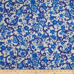 Stretch Poplin Miramar Flowers Royal from @fabricdotcom  This lightweight cotton poplin fabric has an ultra smooth hand and 10% stretch across the grain. It is perfect for shirts, dresses, skirts, blouses and more. Colors include purple, royal, light blue and cream.