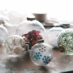 3 great ideas to transform ordinary clear glass ornaments into beautiful baubles.