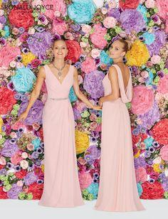 Sheath Bridesmaid Dresses Ronald Joyce Floor Length Pink Chiffon 29120 Backless…