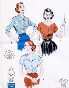 Lovely Quick n Easy Blouses Pattern Butterick 6586 Three Beautiful Blouse Styles Day or Evening Bust 34 Vintage Sewing Patterns FACTORY FOLDED-Authentic vintage sewing patterns: This is a fabulous original dress making pattern, not a copy. Dress Making Patterns, Vintage Dress Patterns, Blouse Patterns, Vintage Dresses, Vintage Outfits, Vintage Fashion 1950s, Retro Fashion, Vintage Ladies, Vintage Tops