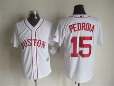 Boston Red Sox #15 Dustin Pedroia Alternate White 2015 MLB Cool Base Jersey