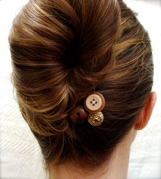 """Brown Sugar Buttons"" - Vintage Button Bobby Pins! Holy Cuteness!"