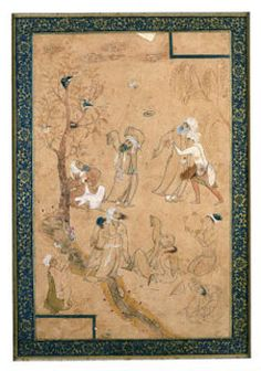A Gathering Of Dervishes | The Aga Khan Museum: Arts of the Book: Illustrated Texts, Miniatures - Safavid, late 16th century CE