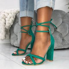 3e61028f18b Green Suede Open Toe Chunky Heels Strappy Sandals