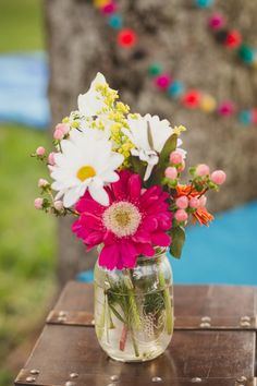 DIY Mason Jar Decor for your DIY wedding by Theresa Bailey from Bridesmaids Confessions.